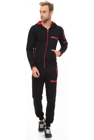 Longer Siyah Kırmızı Kapüşonlu Sportif Erkek Eşofman Takımı