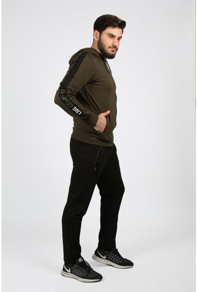 Longer Haki-Siyah Kapüşonlu Kol Şeritli Erkek Eşofman Takımı