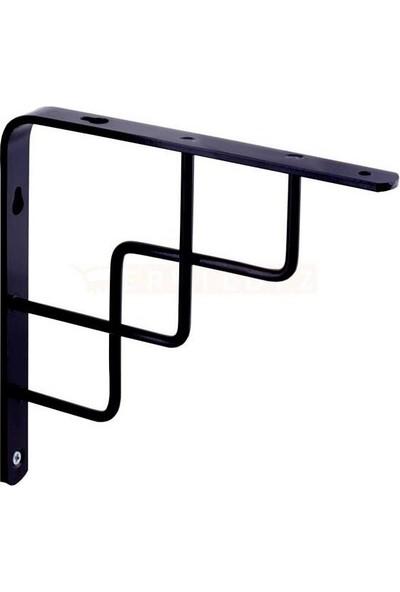 Arwino 2 Adet 15 cm x 15 cm Siyah Menderes Raf Altı Aparatı L Konsol Perforje Duvar Rafı Ferforje