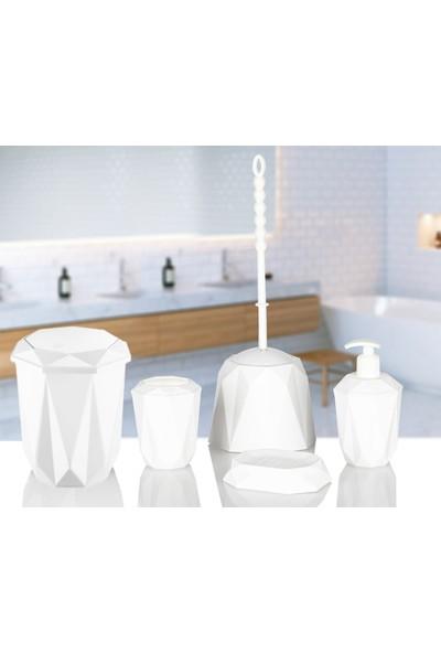 Kaya Store Kristal Desen Lüx 5'li Banyo Seti Beyaz