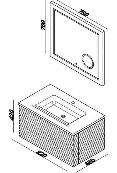 Lineart Fuga 80 cm Banyo Dolabı