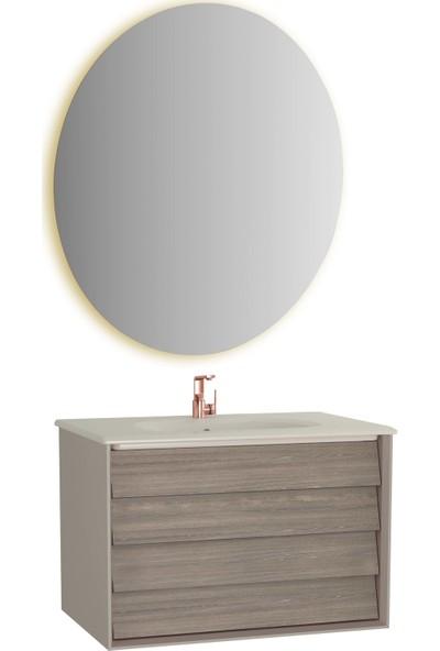 VitrA Frame Lavabo Dolabı Ve Ayna Seti, 80 cm, Mat Soft Bej