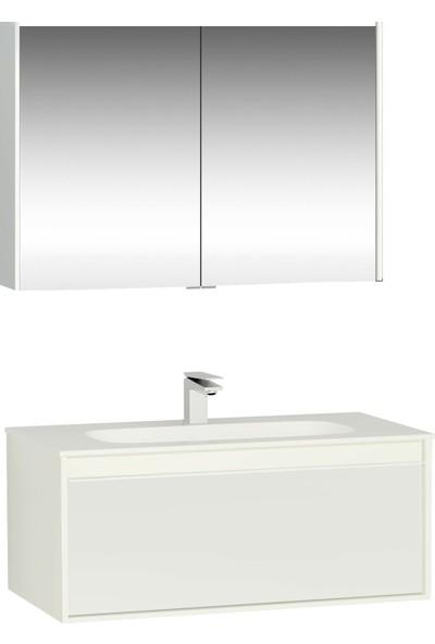 VitrA Metropole Lavabo Dolabı Ve Dolaplı Ayna Seti, 100 cm, Parlak Beyaz