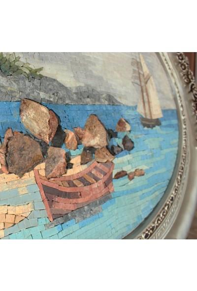 Antik Mozaik Tekneler Oval Tablo Doğal Taşlardan Mozaik El Yapımı Tablo