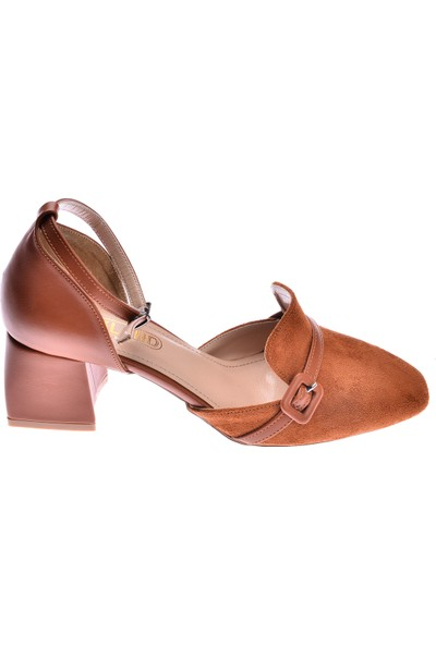 Ayakland 1137 Süet 5 Cm Topuk Kadın Topuklu Sandalet Ayakkabı Taba
