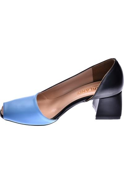 Ayakland 1139 Cilt 5 Cm Topuk Kadın Topuklu Sandalet Ayakkabı Mavi