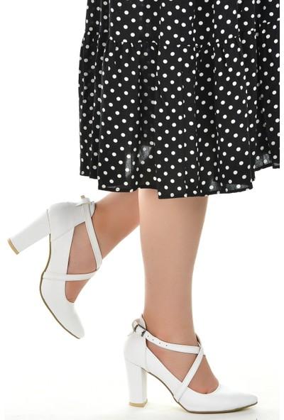Ayakland 137029-1122 Cilt 9 Cm Topuk Kadın Sandalet Ayakkabı Beyaz