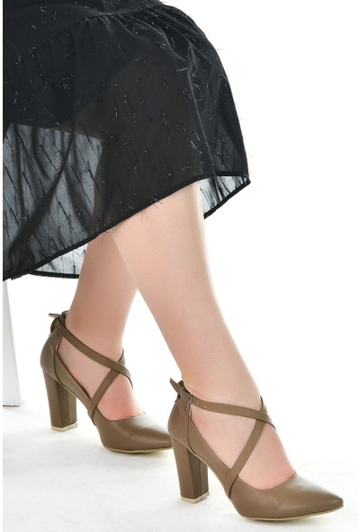 Ayakland 137029-1122 Cilt 9 Cm Topuk Kadın Sandalet Ayakkabı Vizon