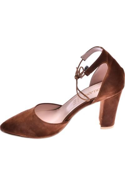 Ayakland 137029-1160 Süet 9 Cm Topuk Kadın Sandalet Ayakkabı Taba
