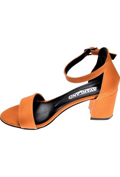Ayakland 2013-05 Fitilli 7 Cm Topuk Kadın Sandalet Ayakkabı Sarı