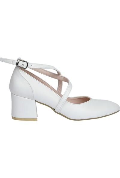 Ayakland 544-1121 Cilt 5 Cm Topuk Kadın Sandalet Ayakkabı Beyaz