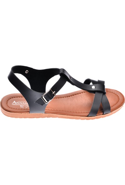Annamaria Direkli Günlük Kadın Sandalet Terlik Siyah
