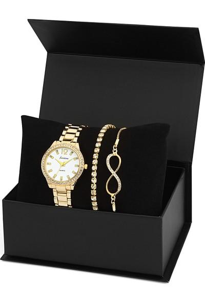 Forentina Kadın Kol Saati Bileklik Kombin Set