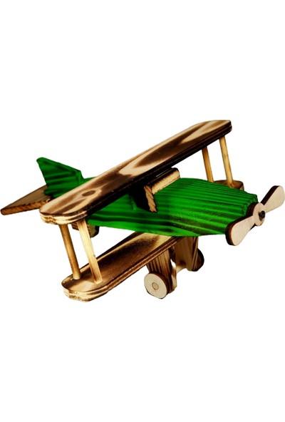 Nazar Antalya Çift Kanatlı Ahşap El Yapımı Uçak Yeşil