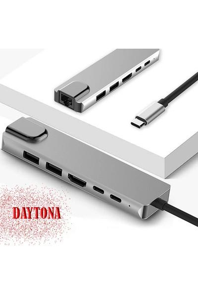 Daytona 6 In 1 Type-C™ To 4K HDMI Tv Projeksiyon Ultra Hd 1080P 2*type-C 2*usb 3.0 1000MBPS Gigabit Ethernet Lan Adaptör