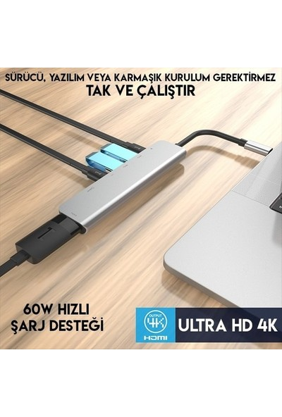 Daytona 7 In 1 Macbook Uyumlu Type C To 4K HDMI Tv Projeksiyon Ultra Hd 1080P 2type C+ 2usb+Sd/tf Kablolu Adaptör
