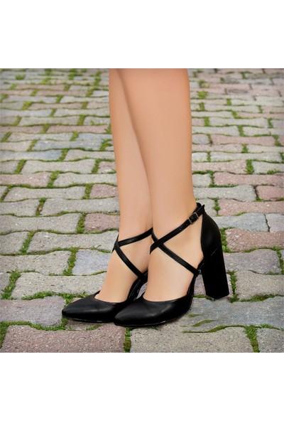 Sothe HEMN-1004 Siyah Deri Kadın Klasik Kısa Topuklu Çapraz Bantlı Gece Abiye Günlük Ofis Kadın Ayakkabı