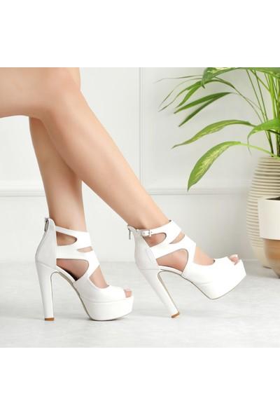 Sothe HEMN-1013 Beyaz Deri Kadın Platform Yüksek Topuklu Çapraz Bantlı Gece Abiye Kadın Ayakkabı