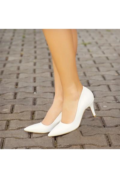Sothe HEMN-1017 Beyaz Deri Kadın Klasik Kısa Topuklu Çapraz Bantlı Gece Abiye Günlük Kadın Ayakkabı