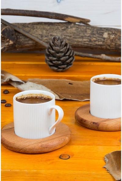Joy Kitchen Ahşap Kahve Sunum Seti Payidar Ahşap Kahve Fincan Takımı 6 Kişilik