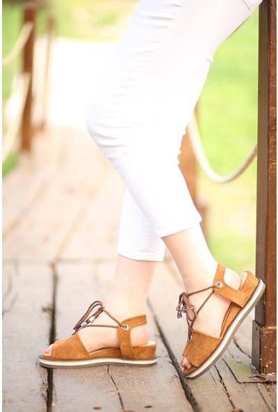 Makro Taba Süet Bilekten Bağlı Sandalet