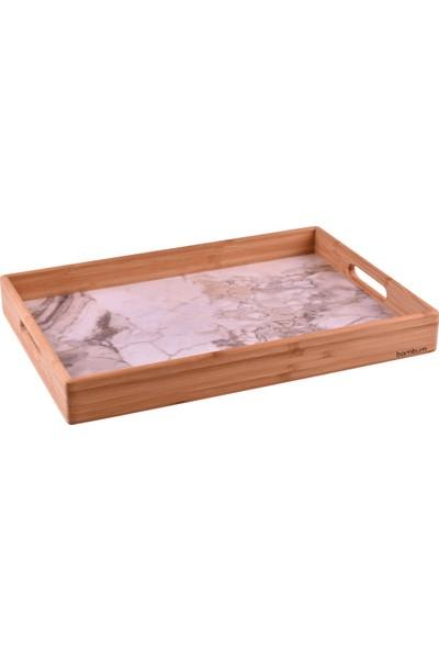Bambum Marbel - Mermer Desenli Tepsi Fildişi Büyük