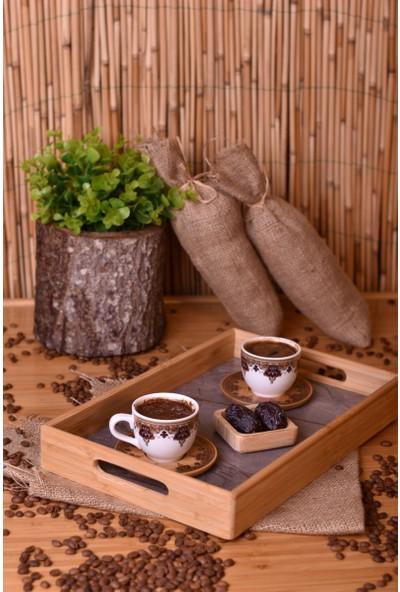Bambum Marbel - Mermer Desenli Tepsi Gri Küçük