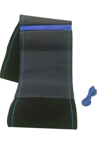 Neebs Oto Direksiyon Kılıfı Alcantra Karbon Mavi Dikişli