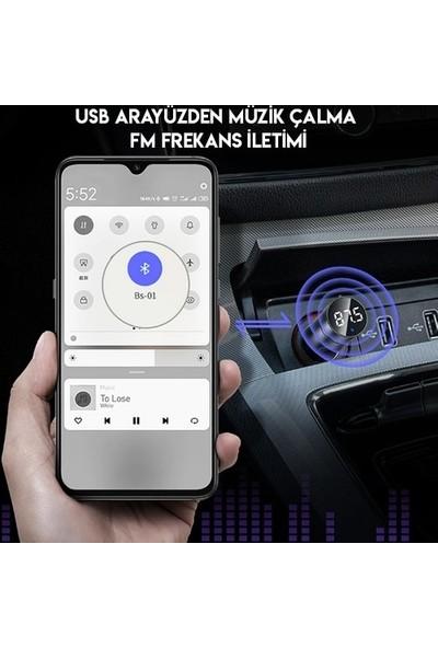 Baseus Ccnlz-0g Energy Column Bluetooth 5.0 Araç Mp3 Dual USB Araç Şarjı
