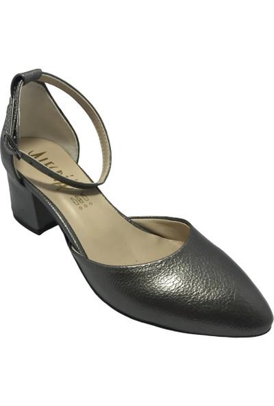 Allegra Gri Sultan Orta Boy Topuklu Kadın Ayakkabısı