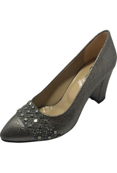 Norfix Gri-Sultan Taşlı 7 cm Topuklu Ayakkabı