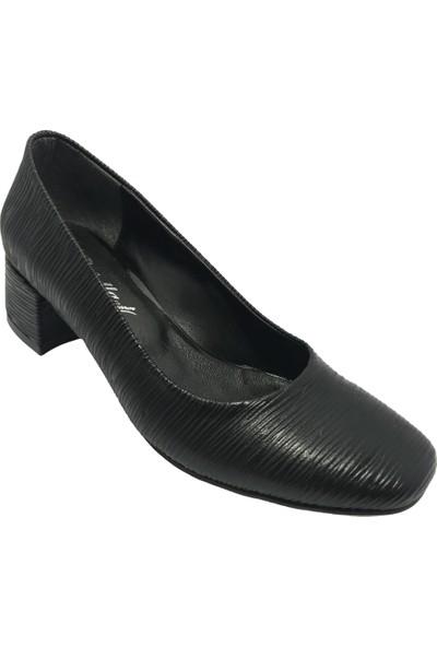 Norfix Siyah-Mat Kısa Topuk Babet Kalıbında Günlük Veya Abiye Kadın Ayakkabı