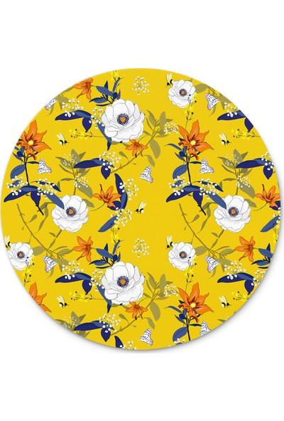 Cupgel Cpart Bahar Çiçekleri Desenli Yuvarlak Mouse Pad