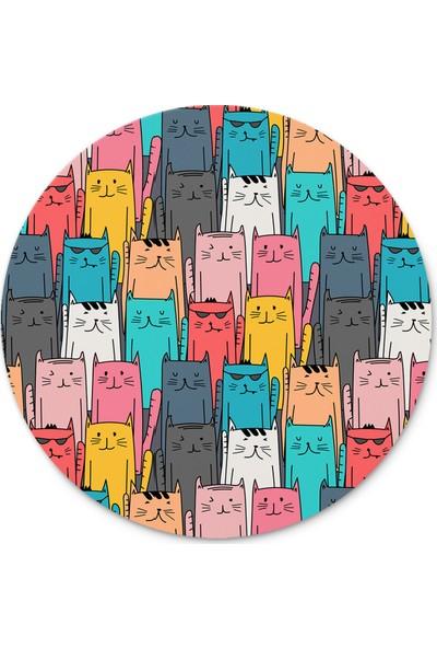 Cupgel Cpart Dizilmiş Kediler Desenli Yuvarlak Mouse Pad