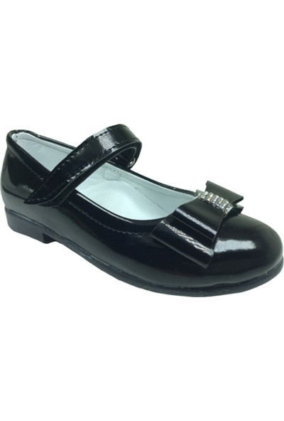 Ortaç OrtopedikaPatik Siyah Rugan Katlı Taşlı Fiyonk Kız Çocuk Babet Ayakkabı İçi Deri Abiye Fantazi Düğün