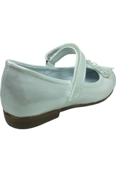 Ortaç OrtopedikaPatik A.gri Rugan Bıyık Fiyonk Kız Çocuk Babet Ayakkabı İçi Deri Abiye Fantazi Düğün
