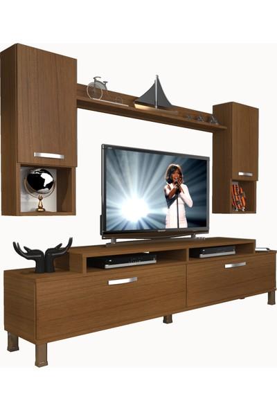 Decoraktiv Ekoflex 5da Mdf Krom Ayaklı Tv Ünitesi Tv Sehpası Naturel Ceviz