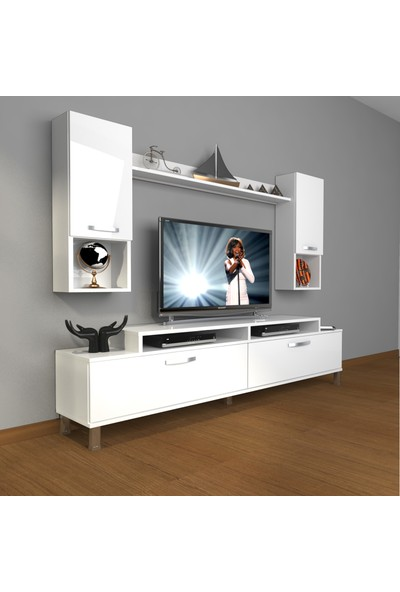Decoraktiv Ekoflex 5da Mdf Krom Ayaklı Tv Ünitesi Tv Sehpası Parlak Beyaz