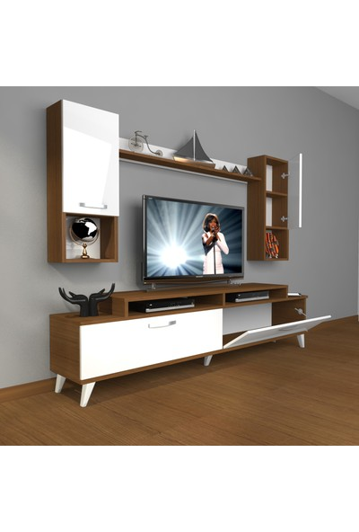 Decoraktiv Ekoflex 5da Mdf Retro Tv Ünitesi Tv Sehpası Ceviz Beyaz