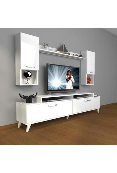Decoraktiv Ekoflex 5da Mdf Retro Tv Ünitesi Tv Sehpası Parlak Beyaz