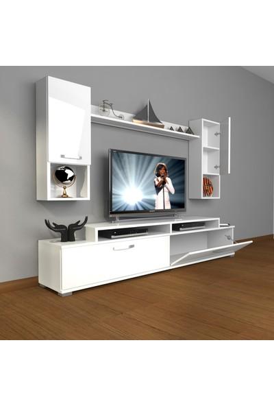 Decoraktiv Ekoflex 5da Mdf Tv Ünitesi Tv Sehpası Parlak Beyaz
