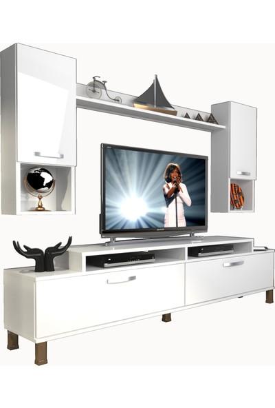Decoraktiv Ekoflex 5da Slm Krom Ayaklı Tv Ünitesi Tv Sehpası Parlak Beyaz