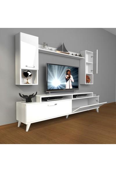 Decoraktiv Ekoflex 5da Slm Retro Tv Ünitesi Tv Sehpası Parlak Beyaz