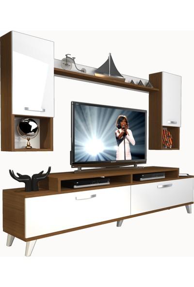 Decoraktiv Ekoflex 5da Slm Retro Tv Ünitesi Tv Sehpası Ceviz Beyaz