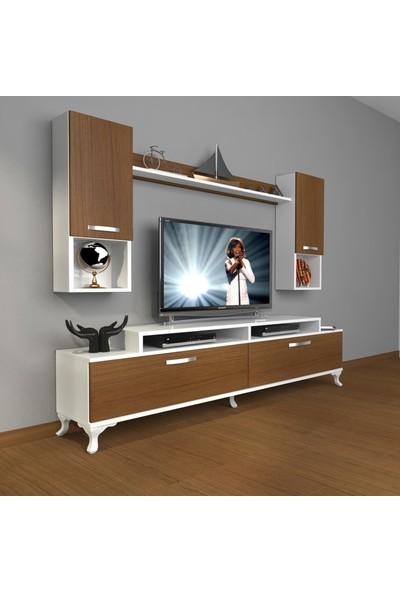 Decoraktiv Ekoflex 5da Slm Rustik Tv Ünitesi Tv Sehpası Beyaz Ceviz