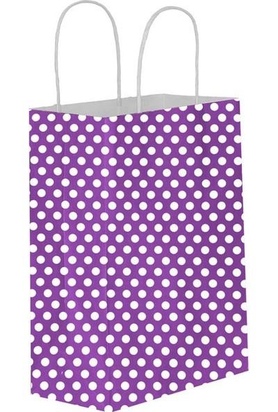 Eposet Puantiyeli Mor Kağıt Hediye ve Alışveriş Çantası 11 x 6 x 16 cm 25'li