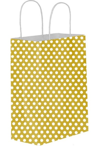 Eposet Puantiyeli Altın Kağıt Hediye ve Alışveriş Çantası 31 x 12 x 41 cm 25'li