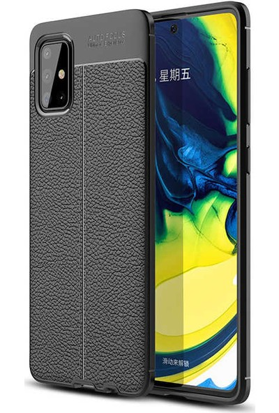 Fujimax Samsung Galaxy M31 Niss Deri Görünümlü Darbe Emici Özellikli Silikon Kılıf + Kenarları Tam Kapatan Temperli Ekran Koruycu-Siyah