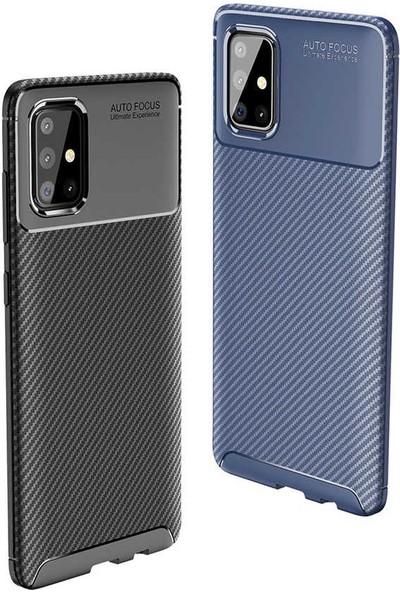 Fuji̇max Samsung Galaxy M31 Negro Karbon Tasarım Silikon Kılıf + 9h 330 Derece Bükülür Nano Ekran Koruyucu-Siyah