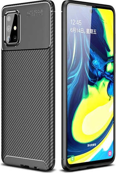 Fuji̇max Samsung Galaxy M31 Negro Karbon Tasarım Silikon Kılıf + Fiber Tam Kapatan 9h Nano Ekran Koruycu-Siyah